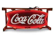 Coca-Cola Fishtail Sign with Neon Added