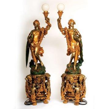 308: Cast Metal Goddess Lamps