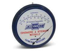 Chevrolet Porcelain Face Round Thermometer