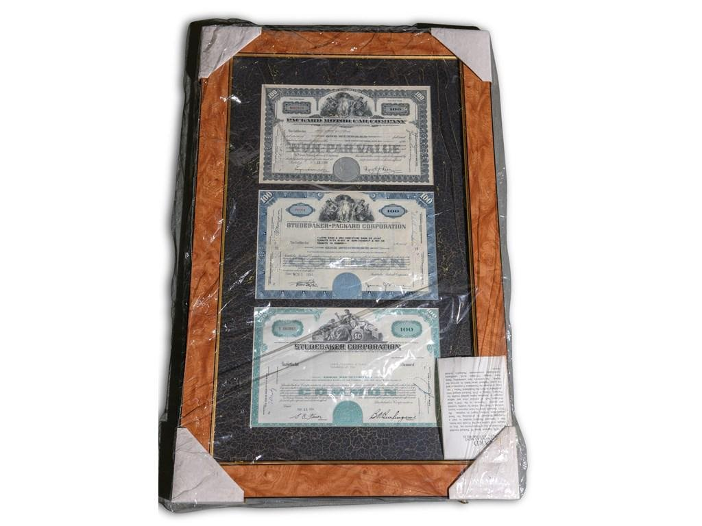 Vintage Packard and Studebaker Stock Certificates