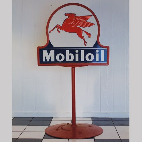 113: Mobiloil Double sided Keyhole Sign Porcelain