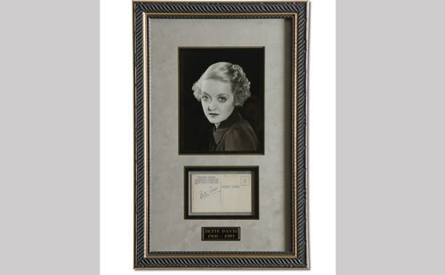 2001: Bette Davis Signed Post Card Display