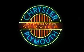 3082: Chrysler Plymouth Approved Service Neon Sign