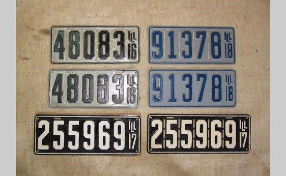 6009: Illinois License Plates 1916 - 1918