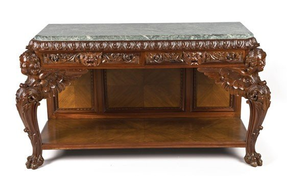 203: George II Style 'Marble' Top Mahogany Side Table