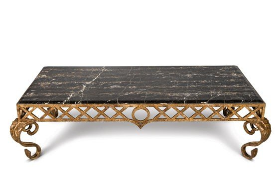 206: Good Portor Marble and Gilt Wrought Iron Low Table
