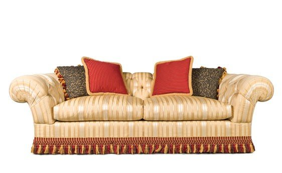 210: Pair of Elegant Button-Tufted Upholstered Settees