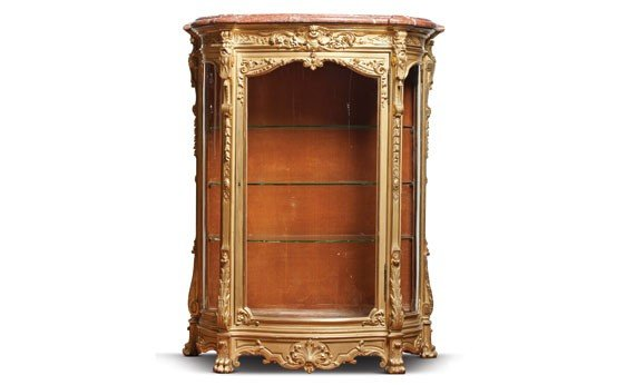 218: Louis XIV Style Marbletop Carved Gilt Wood Vitrine