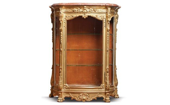 219: Louis XIV Style Marbletop Carved Gilt Wood Vitrine