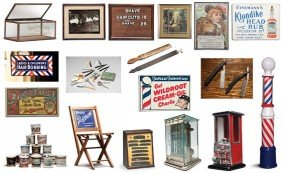Assorted Vintage Barbershop Collectibles