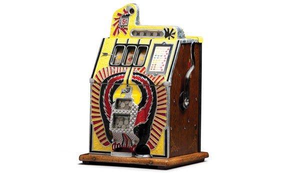 """291:  c. 1931 Mills """"War Bird"""" Nickel Slot Machine"""