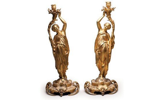 302: Fine Pair of French Ormolu Figural Candle Holders