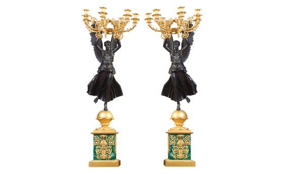 303:  Pair of Russian Empire Style Six-Light Candelabra