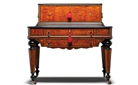 717: Swiss Cylinder Music Box with Double Drawer Table