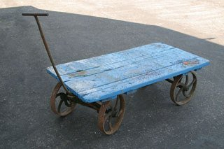 1020: BAGGAGE CART  Lot of two steelwheeled flatbed car