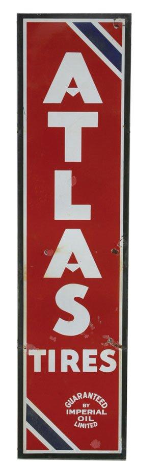 1188: ATLAS TIRE SIGN  Original porcelain Atlas Tires s