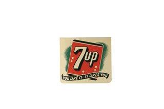 2007: 7UP SIGN  Original metal flange mount 7up sign, 1