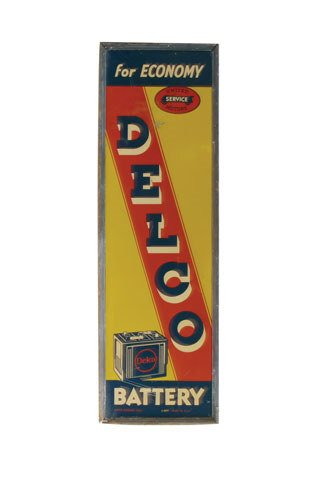3011: DELCO BATTERY SIGN  Original tin Delco Battery si