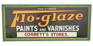 3017: FLO-GLAZE PAINTS AND VARNISHES SIGN  Original tin
