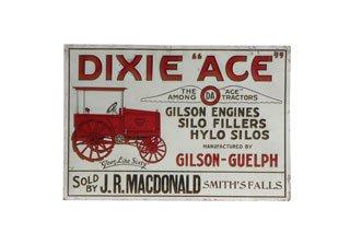 3119: DIXIE ACE TRACTORS SIGN  Original tin Dixie Ace T