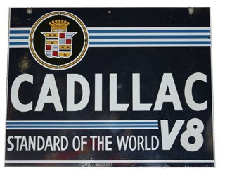 3218: CADILLAC SIGN  Original double-sided porcelain Ca