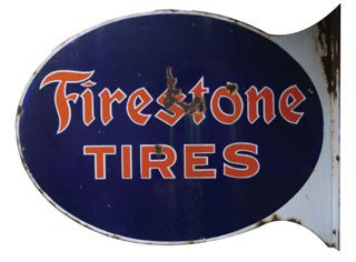 4007: FIRESTONE TIRES SIGN  Original double-sided porce