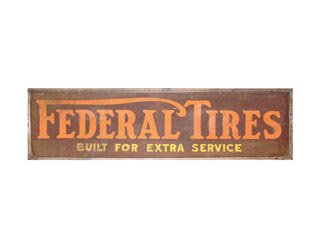 4017: FEDERAL TIRES SIGN  Original tin Federal Tires si