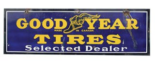4018: GOODYEAR TIRES SIGN  Original porcelain Goodyear
