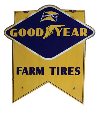 4019: GOODYEAR SIGN  Original double-sided porcelain Go