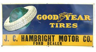 4020: GOODYEAR TIRES SIGN  Original tin Goodyear Tires
