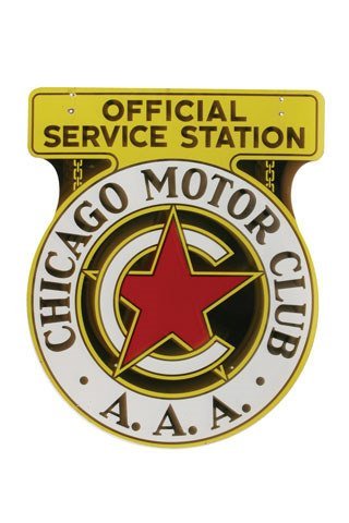 4091: CHICAGO MOTOR CLUB SIGN  Original double-sided po
