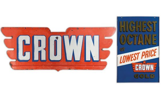 Two Crown Gasoline Signs