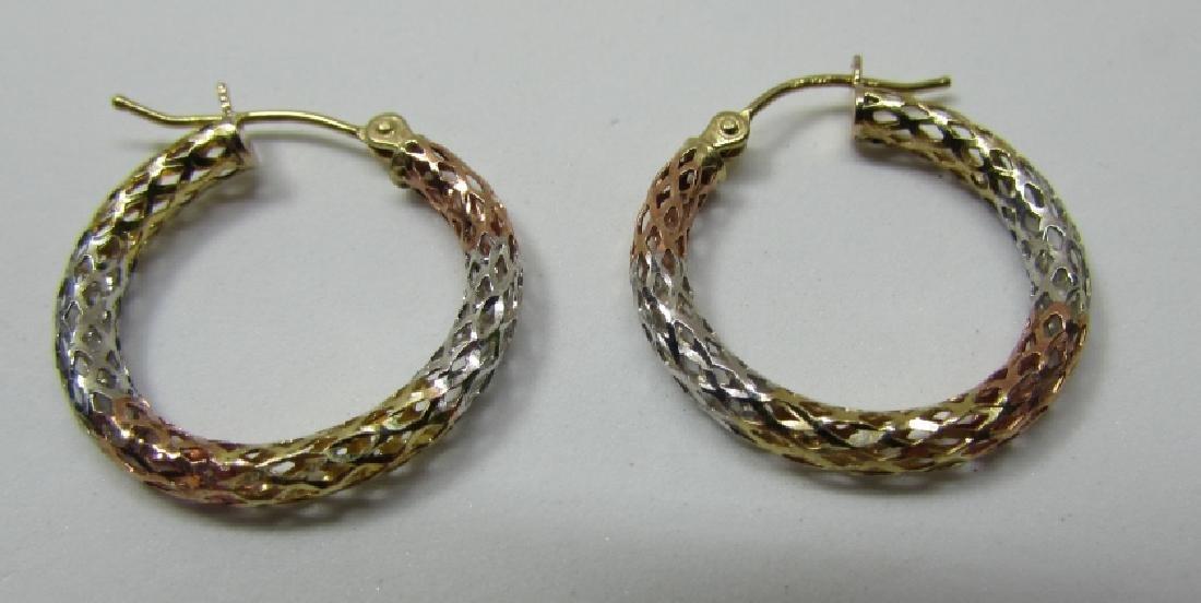 HOOP EARRINGS TRICOLOR DIAMOND CUT 10K GOLD