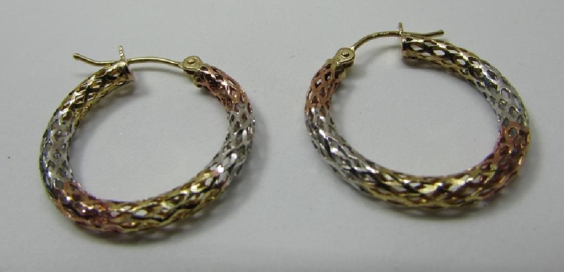 HOOP EARRINGS TRICOLOR DIAMOND CUT 10K GOLD - 2