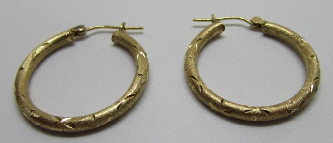 HOOP EARRINGS 14K GOLD DIAMOND CUT