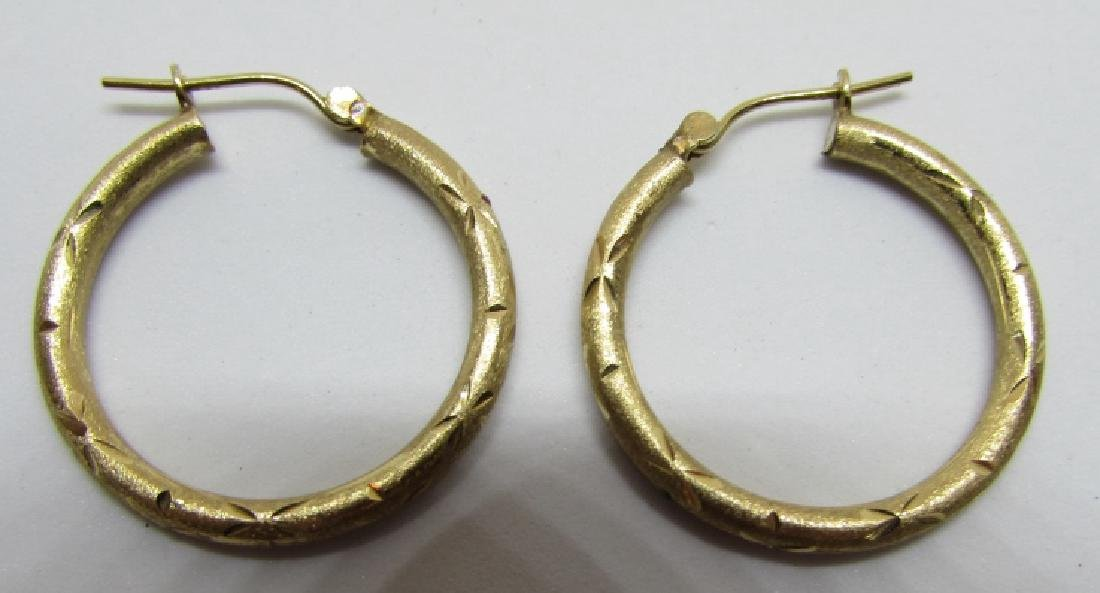 HOOP EARRINGS 14K GOLD DIAMOND CUT - 2