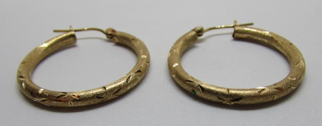 HOOP EARRINGS 14K GOLD DIAMOND CUT - 3