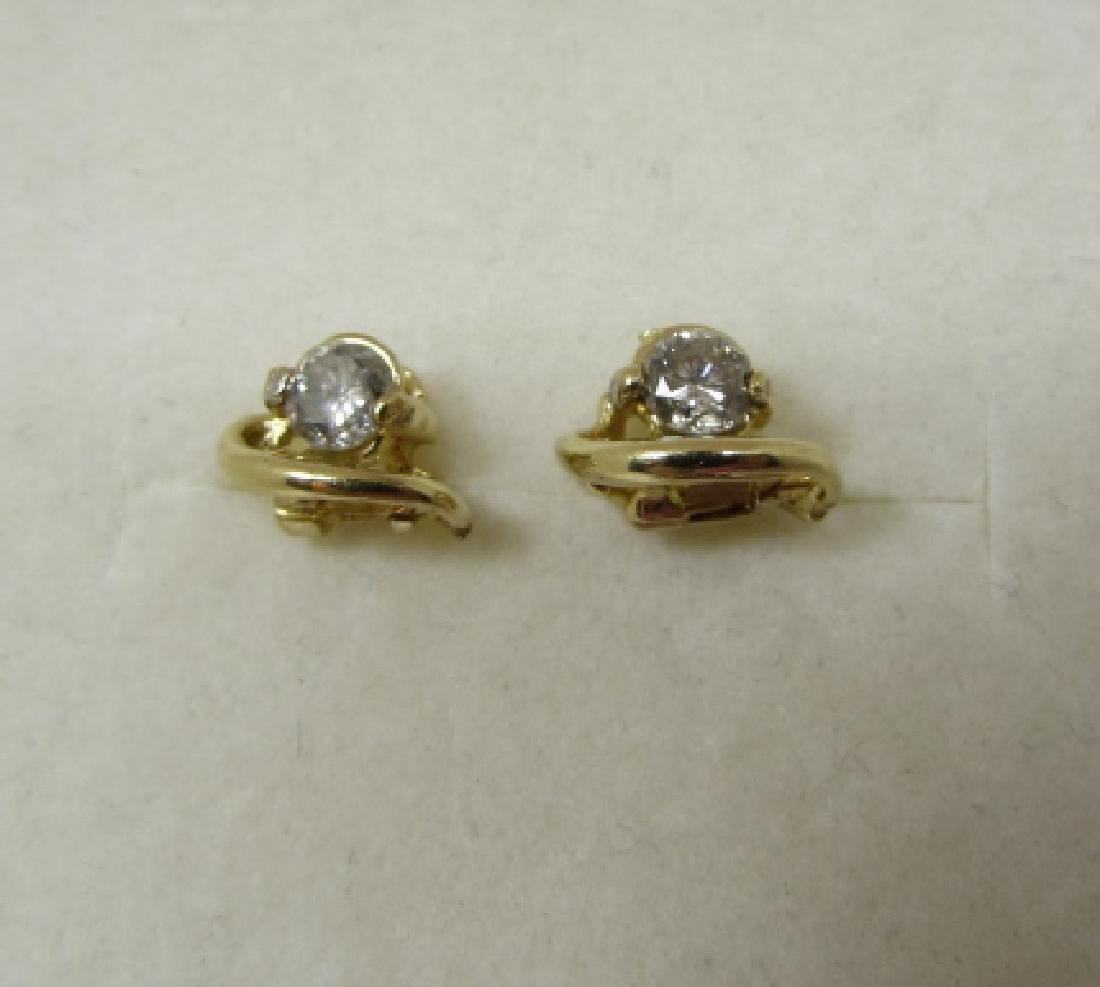 .40CT DIAMOND STUD EARRINGS 14K GOLD - 3