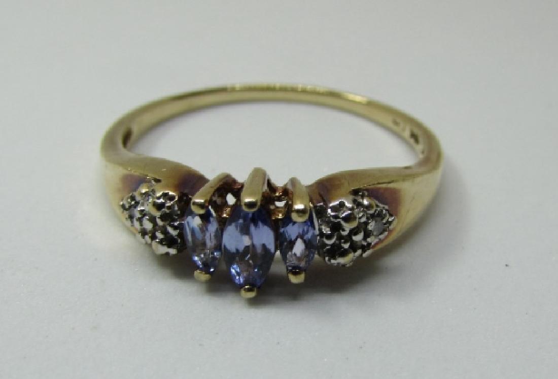 TANZANITE DIAMOND RING 10K GOLD SIZE 9 - 2