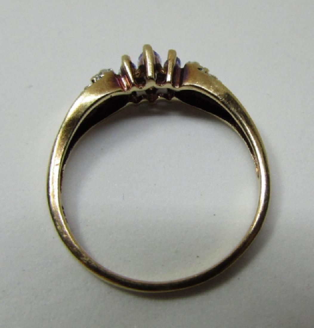 TANZANITE DIAMOND RING 10K GOLD SIZE 9 - 3