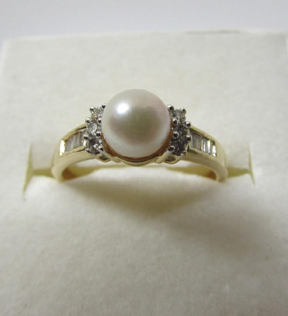 .25CT DIAMOND 6.5MM PEARL RING 14K GOLD SIZE 9