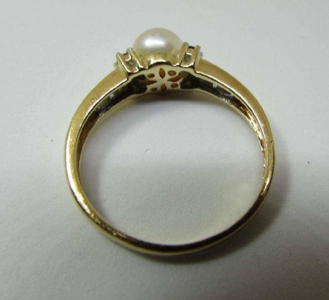 .25CT DIAMOND 6.5MM PEARL RING 14K GOLD SIZE 9 - 3