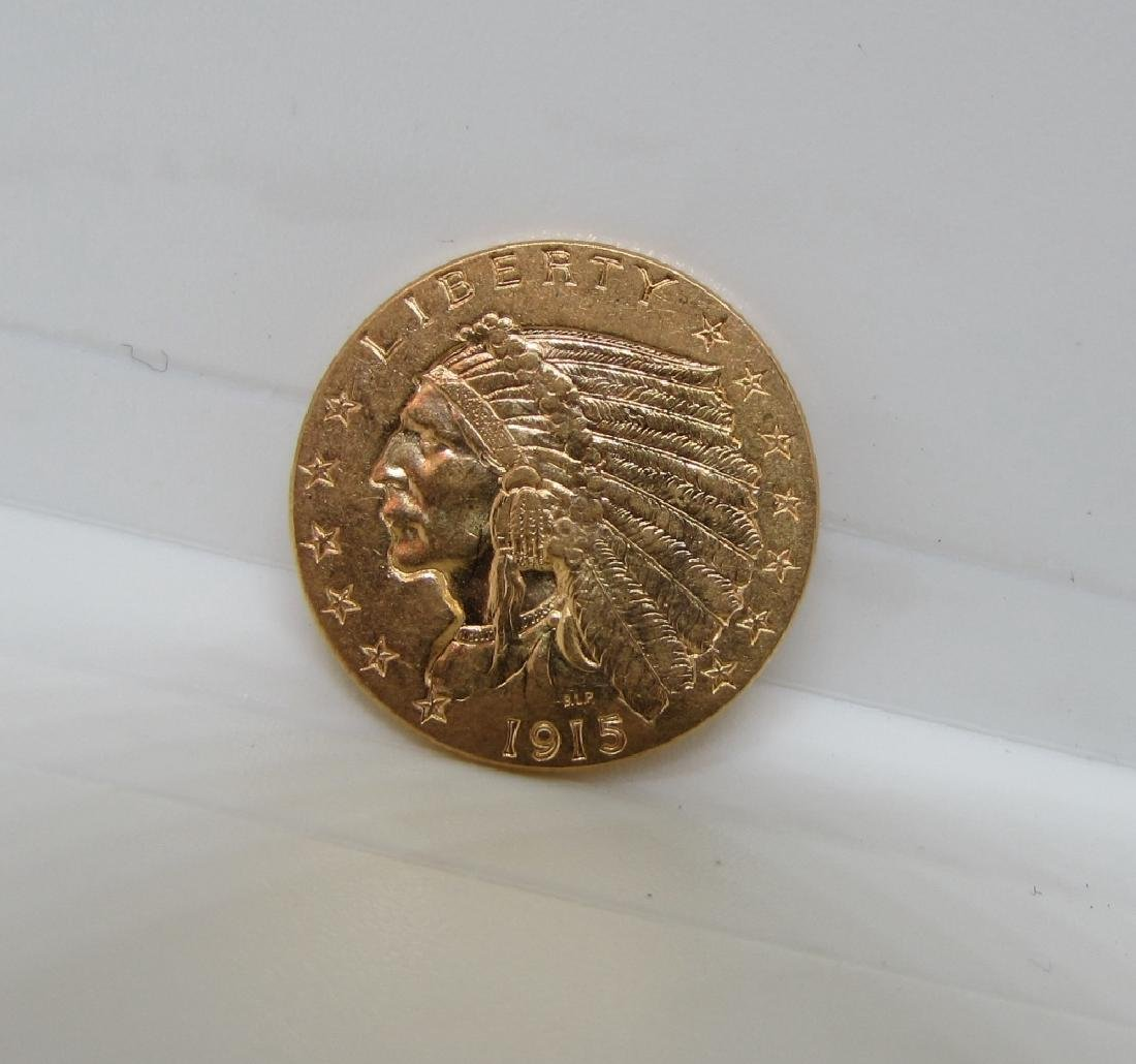 1915 US $2 1/2 DOLLAR GOLD INDIAN COIN UNC