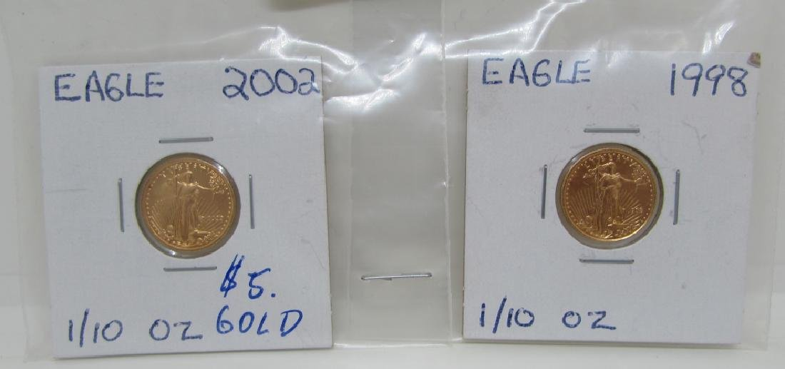 2 GOLD COINS 1998 & 2002 $5 DOLLAR COINS UNC
