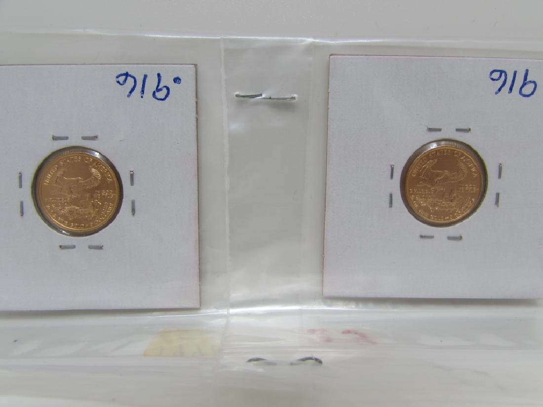 2 GOLD COINS 1998 & 2002 $5 DOLLAR COINS UNC - 2