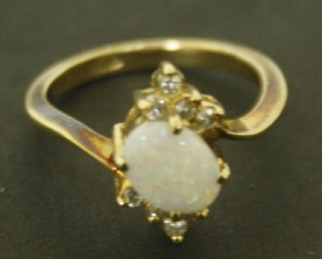 1CT OPAL & DIAMOND RING 14K GOLD SIZE 6 - 2