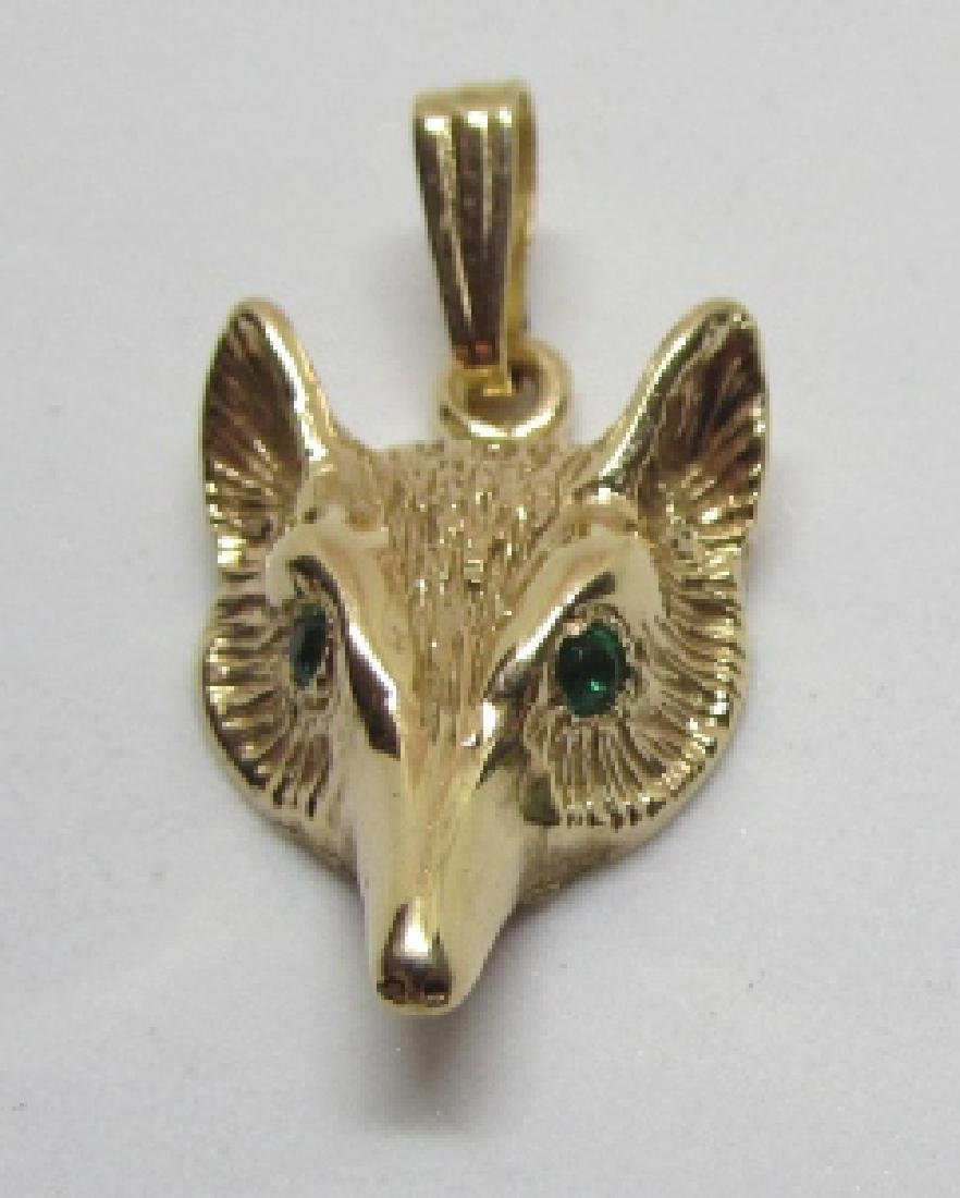 EMERALD FOX NECKLACE PENDANT 14K GOLD 3.2 GRAMS