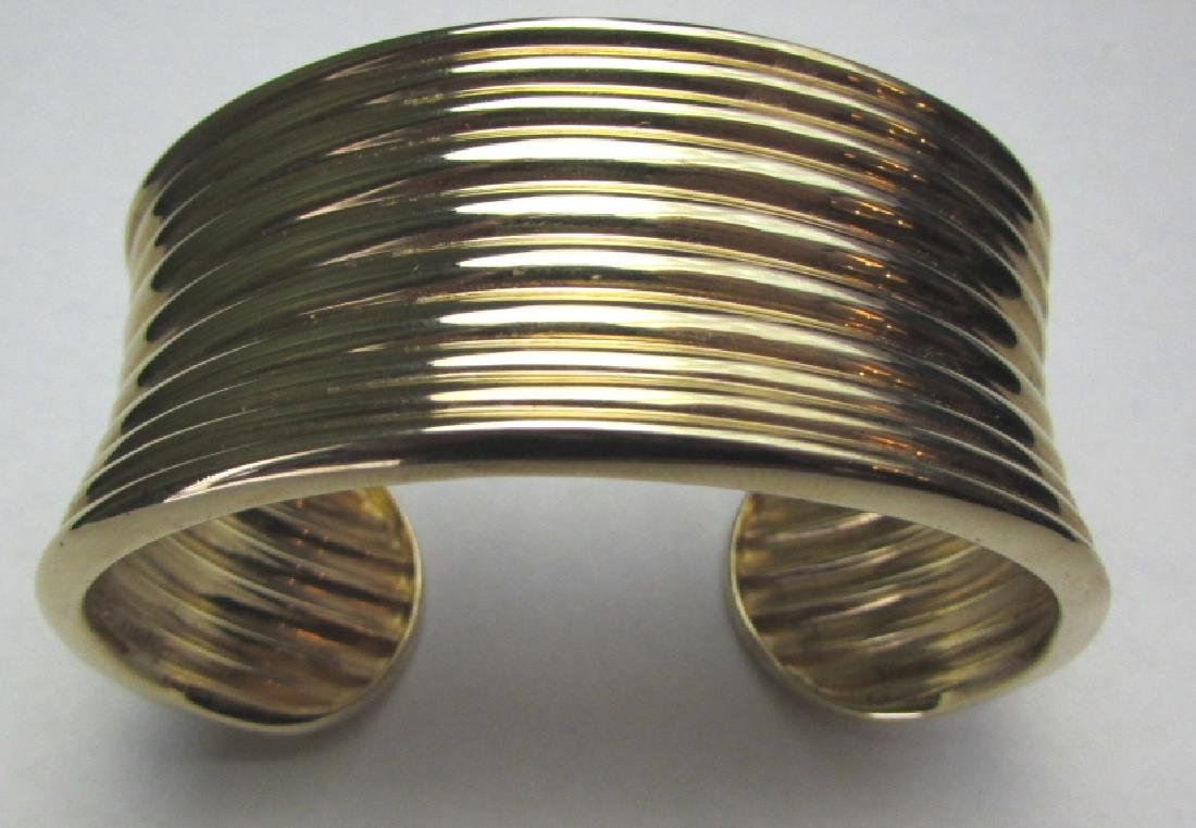 GOLD ON STERLING SILVER CUFF BRACELET BANGLE