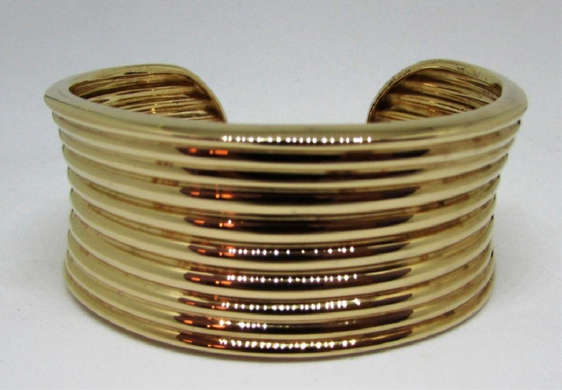 GOLD ON STERLING SILVER CUFF BRACELET BANGLE - 2