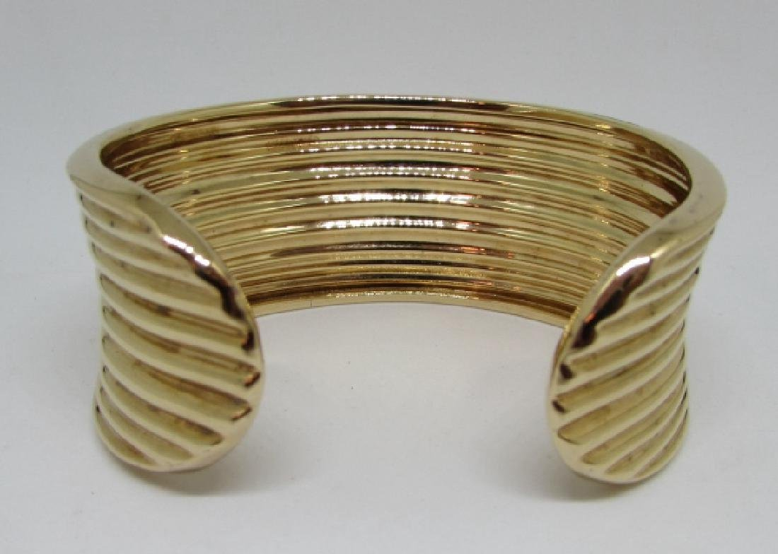 GOLD ON STERLING SILVER CUFF BRACELET BANGLE - 3